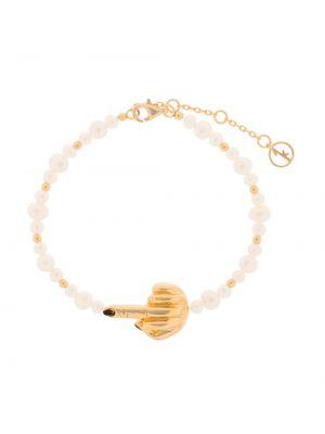 Золотистый желтый браслет позолоченный с жемчугом Anissa Kermiche