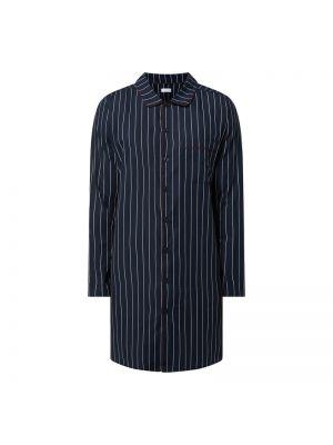 Koszula nocna bawełniana z długimi rękawami w paski Seidensticker