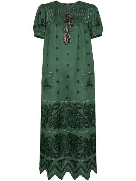 С рукавами зеленое платье мини с вырезом Vita Kin