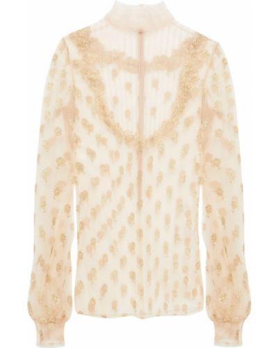 Бежевая блузка с вышивкой Valentino
