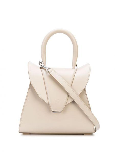 Кожаная сумка-тоут на молнии с карманами Elena Ghisellini