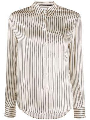 Шелковый топ на пуговицах с воротником с карманами Calvin Klein