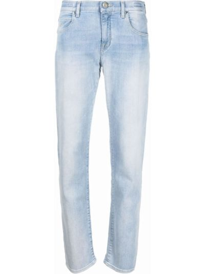 Хлопковые синие джинсы-скинни с нашивками Jacob Cohen