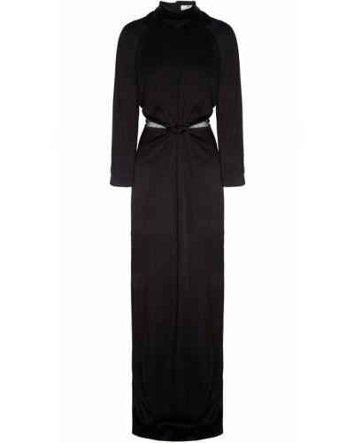 С рукавами черное платье макси с воротником-стойка Laroom