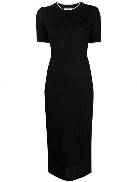 Приталенное с рукавами черное платье миди Fendi