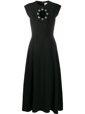 Włókienniczy z rękawami czarny sukienka o linii a okrągły Christopher Kane
