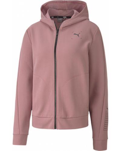 Брендовая розовая толстовка с карманами Puma