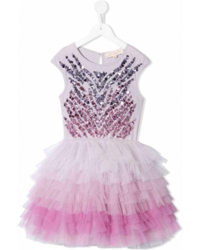 Розовое платье из фатина с вырезом круглое Tutu Du Monde