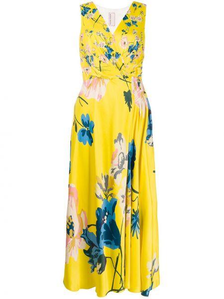 Żółta sukienka długa rozkloszowana z wiskozy Antonio Marras