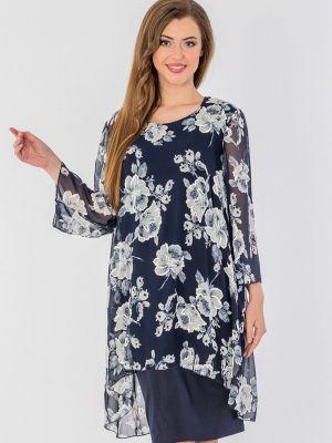 Платье мини осеннее синее Malena
