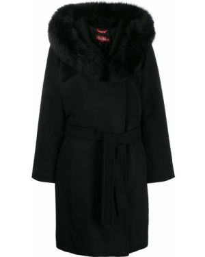 Пальто с поясом - черное Max Mara Studio
