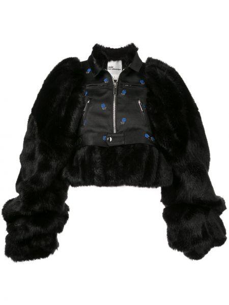 Черная короткая куртка из искусственного меха с воротником Comme Des Garçons Noir Kei Ninomiya