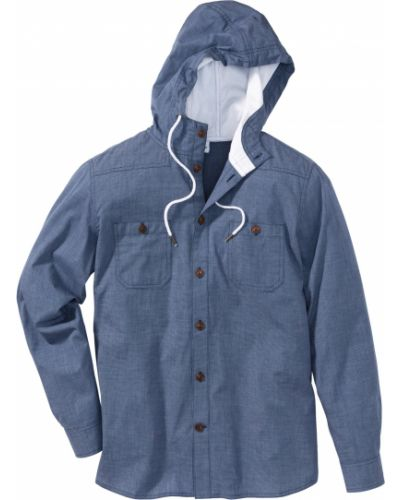 Рубашка с длинным рукавом с карманами с капюшоном Bonprix