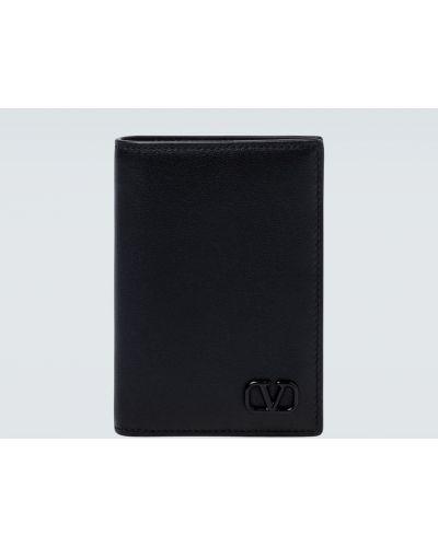 Czarny portfel z prawdziwej skóry z gniazdem Valentino Garavani