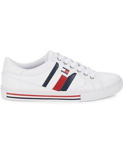 Кожаные белые кроссовки на шнурках Tommy Hilfiger