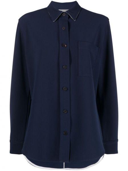 Синяя рубашка с воротником с карманами Antonelli
