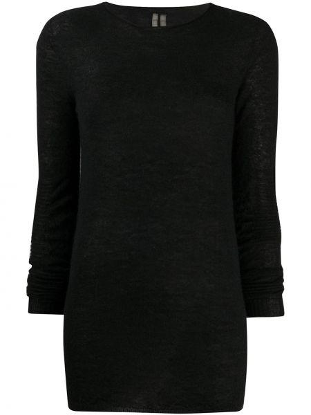 Czarny sweter z moheru z długimi rękawami okrągły dekolt Rick Owens