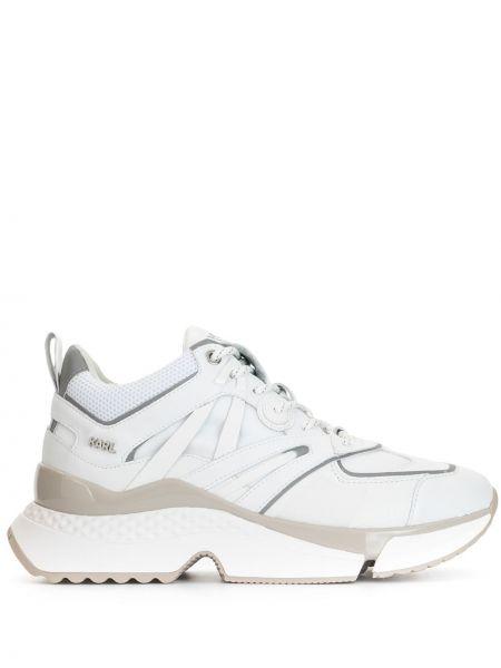 Białe sneakersy skorzane sznurowane Karl Lagerfeld