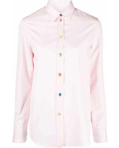 Розовая классическая рубашка с длинными рукавами с воротником Paul Smith