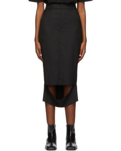 Wełniany czarny spódnica z paskiem przycięte Ader Error