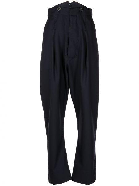 Шерстяные синие зауженные брюки с защипами Vivienne Westwood