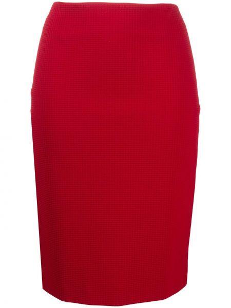 Красная юбка карандаш в клетку на молнии Boss Hugo Boss