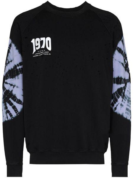 Czarna bluza z długimi rękawami bawełniana Satisfy