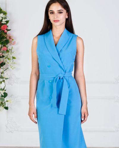 Платье с поясом с запахом на пуговицах азалия