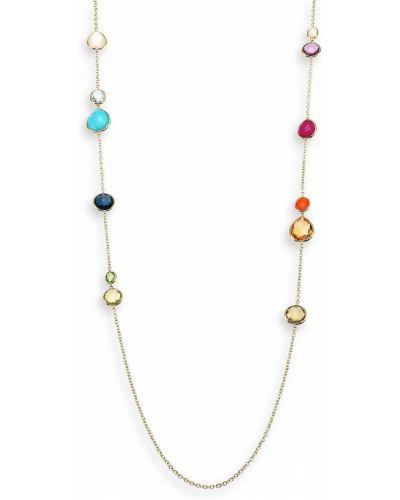 Złoty naszyjnik łańcuch perły turkusowy Ippolita