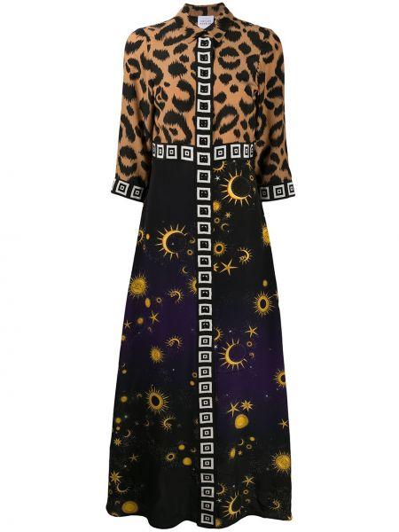 Открытое шелковое коричневое платье макси с воротником Hayley Menzies