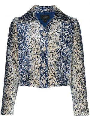С рукавами синяя короткая куртка с воротником Giambattista Valli