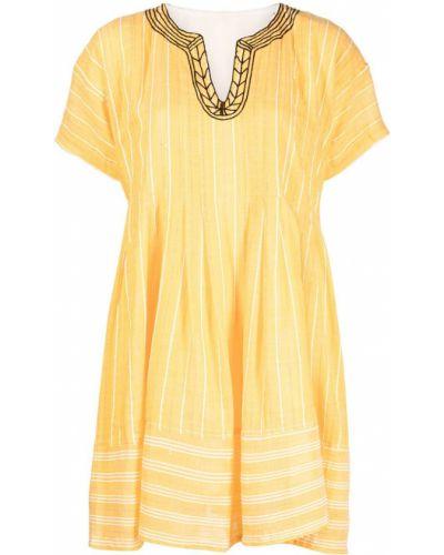 Прямое желтое платье мини с короткими рукавами Lemlem