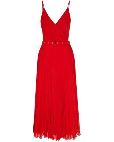 Красное платье миди с запахом с поясом Laroom