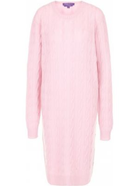 Шерстяное вязаное розовое платье с круглым вырезом Ralph Lauren