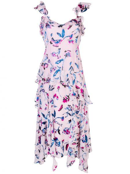 Шелковое розовое платье на молнии с оборками Tanya Taylor