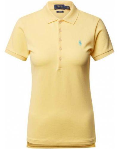 Prążkowany żółty t-shirt bawełniany Polo Ralph Lauren