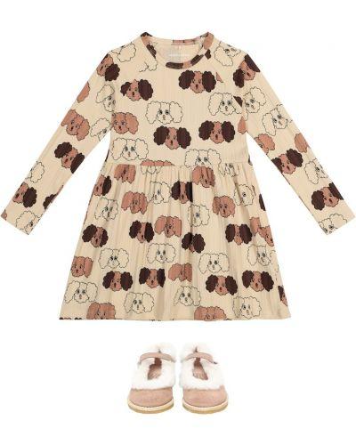Bawełna bawełna beżowy sukienka mini rozciągać Mini Rodini