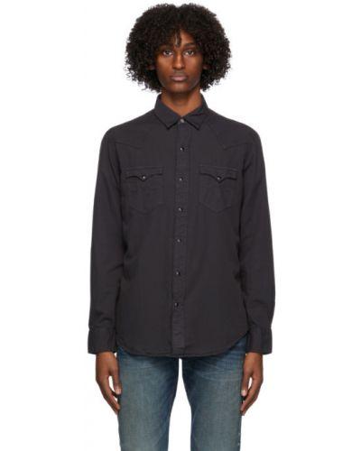 Черная рубашка с воротником с вышивкой с карманами Rrl