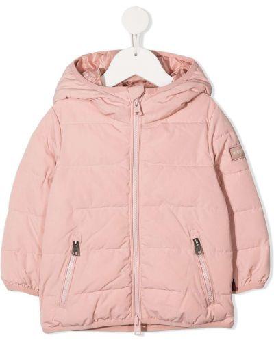 С рукавами классическое розовое длинное пальто с капюшоном Woolrich Kids