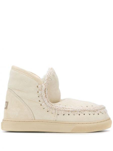 Бежевые ботинки на каблуке на каблуке круглые без застежки Mou