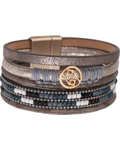 Кожаный браслет золотой коричневый Evora