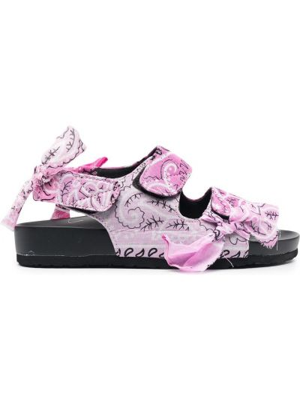 Czarne sandały skorzane z printem Arizona Love