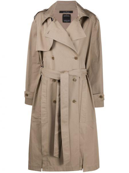 Длинное пальто с карманами на пуговицах двубортный Rokh