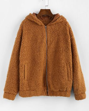 Куртка с капюшоном с карманами пушистая Zaful