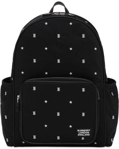 Czarny plecak z nylonu z printem Burberry