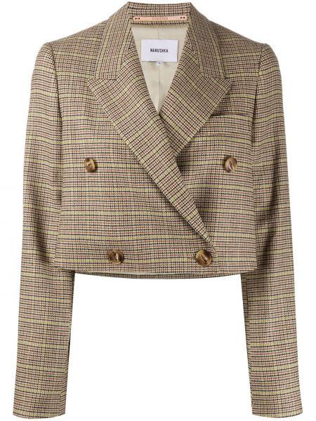 Шерстяной короткая куртка двубортный Nanushka