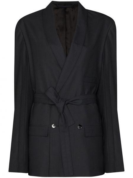 Черный удлиненный пиджак двубортный с поясом Lemaire
