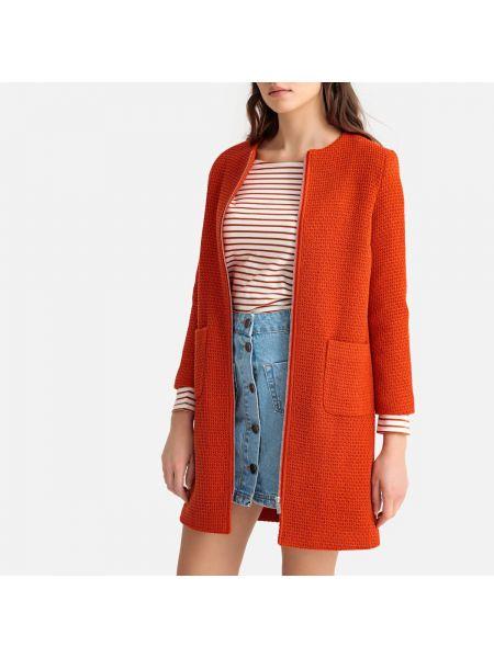 Коралловое шерстяное длинное пальто с воротником на молнии La Redoute Collections