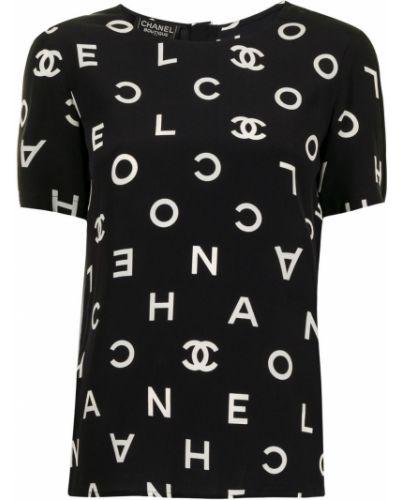 Czarny t-shirt krótki rękaw z printem Chanel Pre-owned