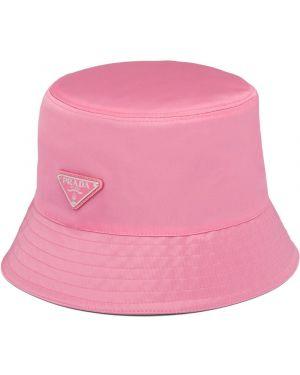 Różowy kapelusz z nylonu Prada